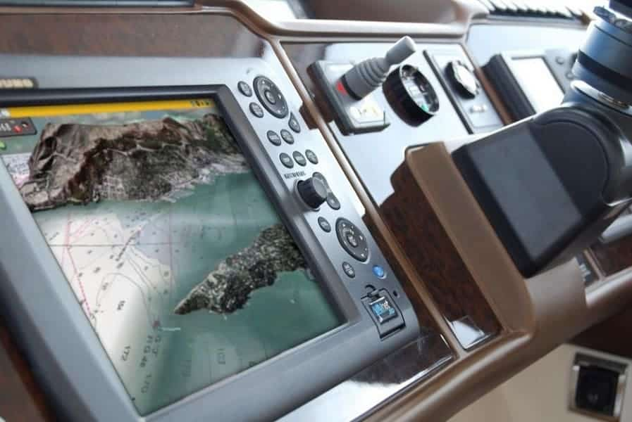 Picture of a GPS chartplotter installed in the boat panel